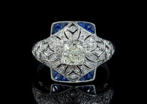 ART DECO SAPPHIRE DIAMOND RING PLATINUM DRESS RING CIRCA 1920 FRONT