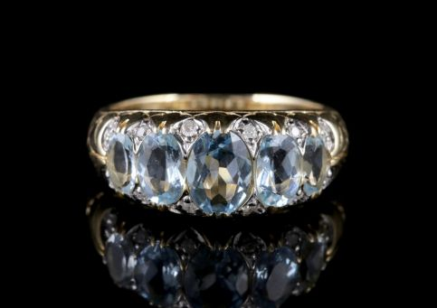 Aquamarine Diamond Ring 9ct Gold FRONT