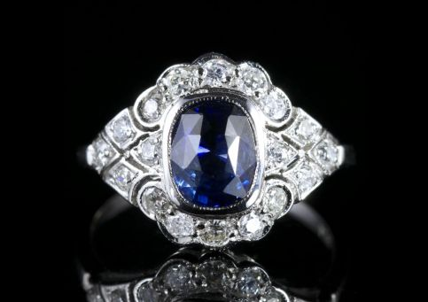 Fabulous 1.60ct Sapphire Diamond Cluster Ring 18ct White Gold FRONT