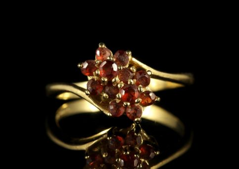 Stunning Garnet 9ct Yellow Gold Cluster Twist Ring FRONT