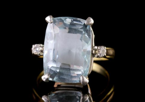 Aqaumarine Diamond Ring 20ct Aqua 18ct Gold Circa 1900 FRONT