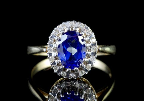 Sapphire Diamond Cluster Ring 9ct Gold Engagement Ring FRONT