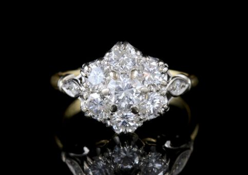 ANTIQUE EDWARDIAN DIAMOND CLUSTER RING PLATINUM 18CT GOLD CIRCA. 1915 FRONT