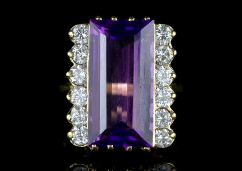 Amethyst Diamond Ring 18ct Gold 10ct Amethyst FRONT
