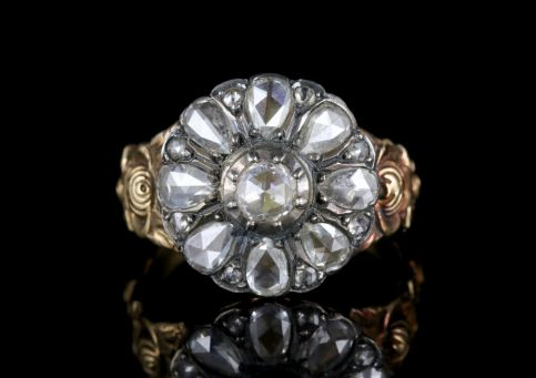 Antique Georgian Diamond Ring 18ct Gold Silver Flower Ring FRONT