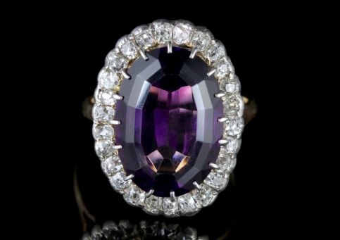 Antique Victorian Amethyst Diamond Ring 9ct Gold Circa 1900 FRONT
