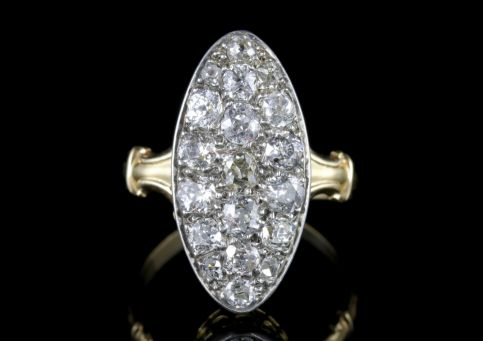 Antique Victorian Diamond Ring 18ct Gold Marquise 3ct Diamonds Circa 1880 FRONT