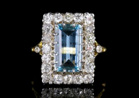 Aquamarine Diamond Ring 18ct Gold 6ct Aqua FRONT