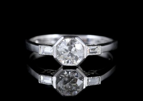 Art Deco Diamond Engagement Ring 18ct White Gold FRONT