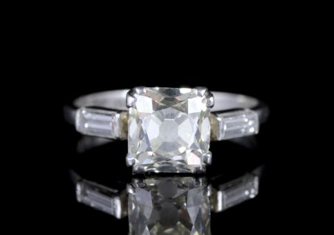 Art Deco Diamond Engagement Ring Platinum 2ct Cushion Cut Solitaire FRONT