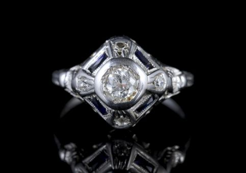 Art Deco Diamond Sapphire Ring 18ct White Gold Circa 1930 FRONT