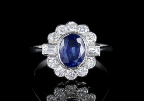 Sapphire Diamond Ring 18ct White Gold 1.50ct Sapphire FRONT