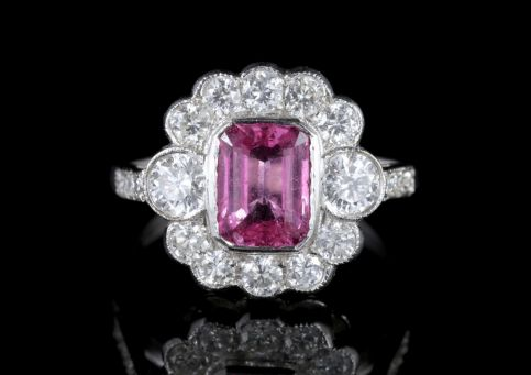 Pink Sapphire Diamond Ring 18ct White Gold 2.5ct Sapphire FRONT