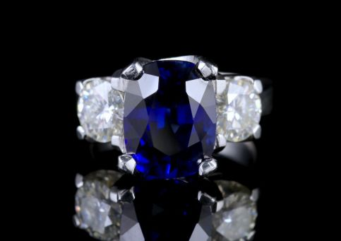Sapphire Moissanite Trilogy Ring 14ct White Gold FRONT