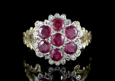 Georgian Ruby Diamond Cluster Ring 18ct Gold Silver FRONT