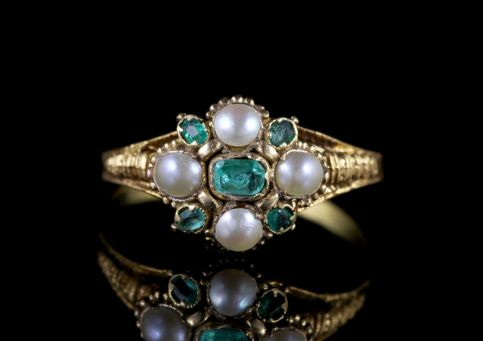 Antique Georgian Emerald Ring 18ct Gold Pearl Circa 1800 FRONT