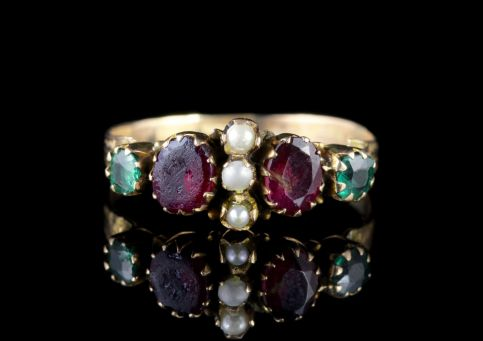 Antique Georgian Ring Garnet Emearld Pearl 15ct Gold Circa 1800 FRONT