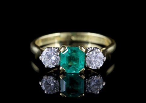 Antique Victorian Emerald Ring Diamond Trilogy Ring Circa 1900 FRONT