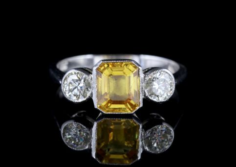 Yellow Sapphire Ring Diamond Trilogy Ring  FRONT