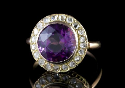 Antique Victorian Amethyst Diamond Cluster Ring 18ct Gold FRONT