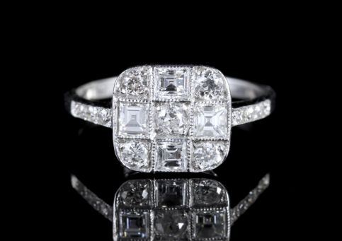 Diamond Chequered Engagement Ring 18ct White Gold 1ct Diamond FRONT