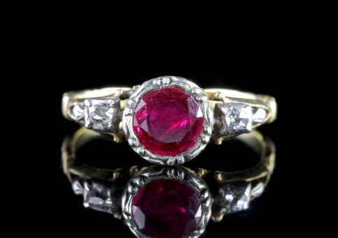 Georgian Style 18ct Gold Ruby Ring 1.50ct Ruby FRONT