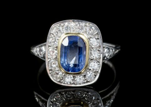 SAPPHIRE DIAMOND CLUSTER RING 18CT WHITE GOLD FRONT