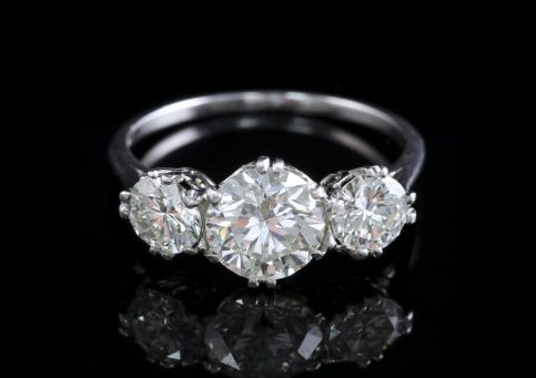 Platinum Edwardian Diamond Trilogy Ring 2.76ct Total FRONT
