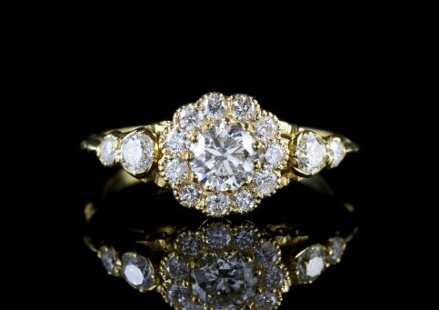 Diamond Cluster Ring 18ct Yellow Gold Engagement Ring FRONT