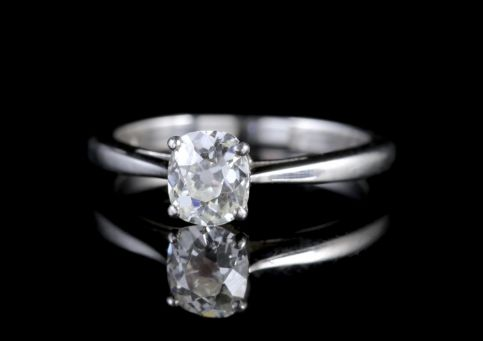 Antique Platinum 0.80ct Old Cut Diamond Engagement Ring Circa 1920 FRONT