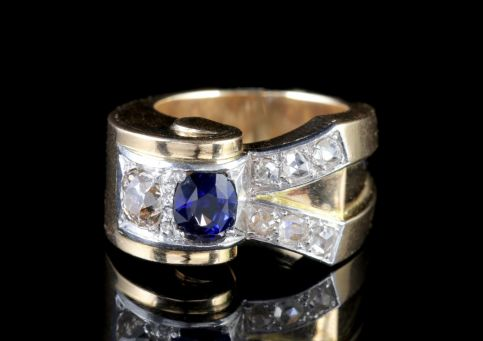 Vintage French Sapphire Diamond Cocktail Ring Circa 1950 FRONT1