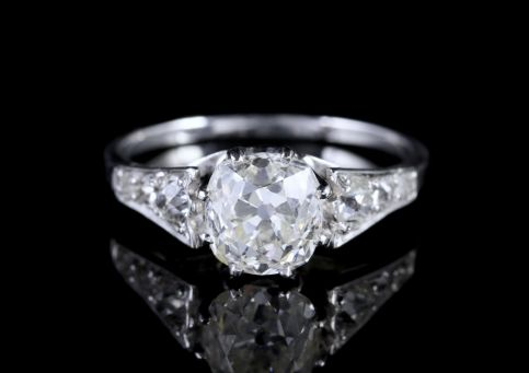 Antique Edwardian 2.47ct Diamond Solitaire Engagement Ring