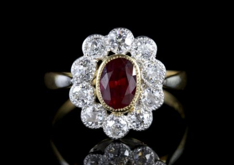 Antique Victorian Ruby Diamond Cluster Ring FRONT