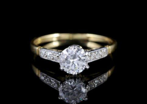 Antique Edwardian Diamond Ring Solitaire Engagement Ring Circa 1915 FRONT