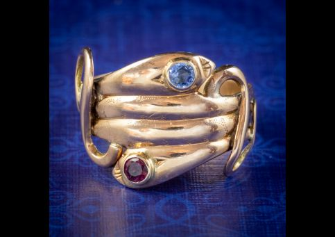 ANTIQUE VICTORIAN SAPPHIRE RUBY SNAKE RING 18CT GOLD CIRCA 1880 cover