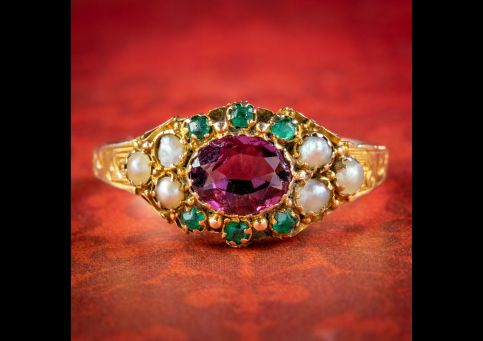 Antique-Victorian-Garnet-Pearl-Cluster-Ring-Circa-1890-cover
