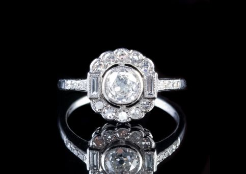 1.45CT OLD CUT DIAMOND CLUSTER RING 18CT WHITE GOLD FRONT
