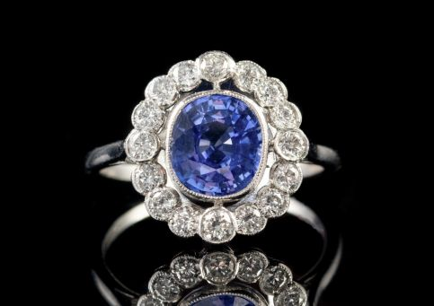 OLD CUT 2CT SAPPHIRE 1CT DIAMOND CLUSTER RING PLATINUM Front