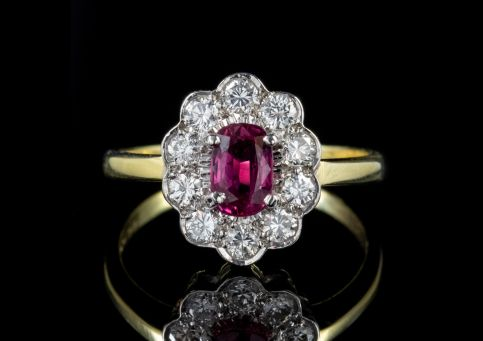 Vintage Ruby & Diamond Ring 18ct Gold Engagement Ring Circa 1970 front
