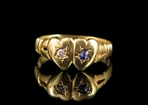 VICTORIAN SAPPHIRE DIAMOND DOUBLE HEART RING 18CT GOLD DATED 1897 FRONT