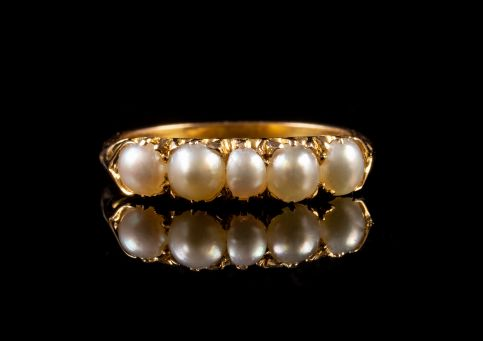 ANTIQUE VICTORIAN PEARL RING 18CT GOLD CIRCA 1900 FRONT
