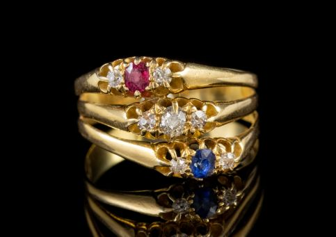 ANTIQUE TRILOGY RING STACK RUBY SAPPHIRE DIAMOND 18CT GOLD CIRCA 1880 front