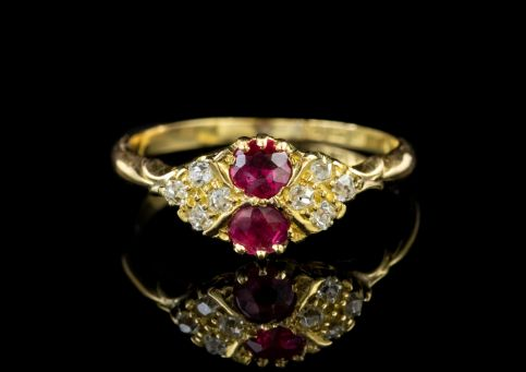 ANTIQUE EDWARDIAN RUBY DIAMOND CLUSTER RING 18CT GOLD DATED 1902 front