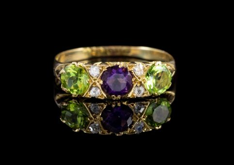 ANTIQUE EDWARDIAN SUFFRAGETTE 18CT GOLD RING DATED 1914 FRONT