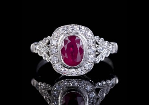 RUBY DIAMOND CLUSTER ENGAGEMENT RING PLATINUM 0.80CT RUBY 1CT DIAMOND  front