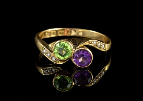 ANTIQUE VICTORIAN SUFFRAGETTE TWIST RING 18CT GOLD DATED 1891 FRONT
