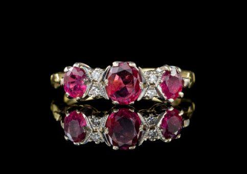 Vintage Ruby Diamond Ring 1.10ct Ruby 18ct Gold front