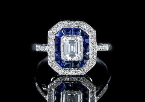 Emerald Cut Diamond Sapphire Cluster Ring 18ct White Gold front