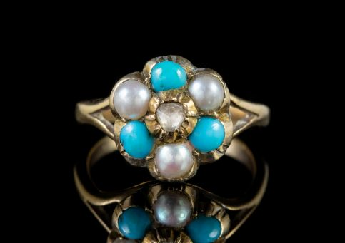 ANTIQUE VICTORIAN TURQUOISE PEARL CLUSTER RING 9CT GOLD GEORGIAN FACE CIRCA 1880 front