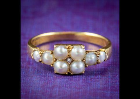 Antique-Victorian-Natural-Pearl-Diamond-Ring-Circa-1880-COVER